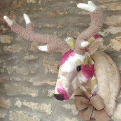 Taxidermia de imitación a mano acuarela floral terciopelo ciervo ciervos de pared animal cabeza trofeo