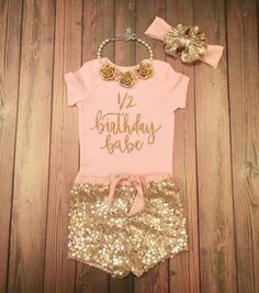 1/2 Birthday Babe Gold Sparkle Baby Onesie