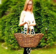 Willow Gathering Basket  Vintage Huge Hand by ChicMouseVintage