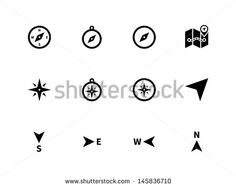 Compass icons on white background. Vector illustration.