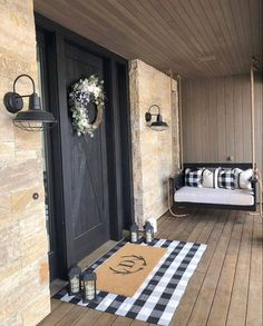 If you are looking for Fall Porch Farmhouse Style, You come to the right place. Below are the Fall Porch Farmhouse Style. This post about Fall Porch Farmhou. Farmhouse Front Porches, Farmhouse Homes, Farmhouse Ideas, Farmhouse Style, Craftsman Porch, Small Front Porches, Farmhouse Bedroom Decor, Farmhouse Outdoor Decor, Diy Bedroom