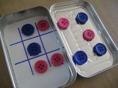 Tic Tac Toe in a Box - paper + buttons backed with magnets