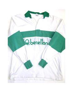 Benetton Rugby Vintage 80s Sweatshirt White/Green