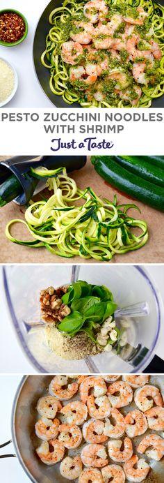 Pesto Zucchini Noodles with Shrimp   #recipe via justataste.com