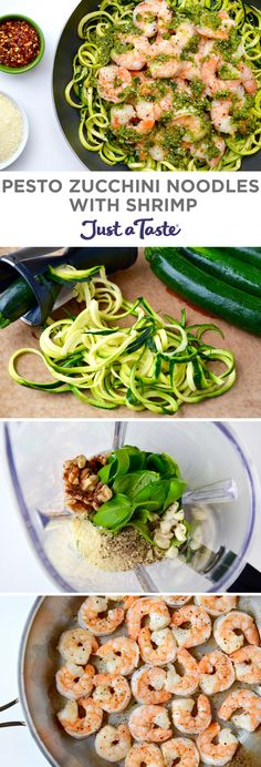 Pesto Zucchini Noodles with Shrimp | #recipe via justataste.com