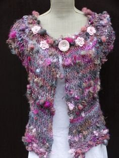 Cardigan knit with handspun art yarn