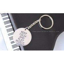 Silver Musical Keychain - Keep Calm and Play Music