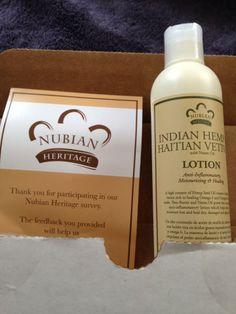 """From Nubian Heritage fan, DM Chambers """"Thank You Nubian Heritage, I just recieved my free bottle of Indian Hemp & Haitian Vetiver lotion, one of my favorites. Thank you, thank you, thank you."""""""