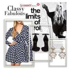 """""""Tie Belt Polka Dot Swing Dress in Blue And White"""" by emina-095 ❤ liked on Polyvore featuring Yves Saint Laurent"""