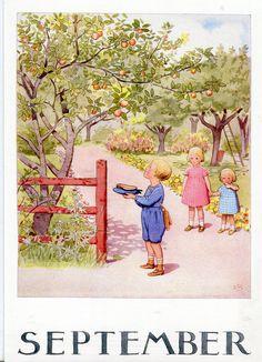 Månadsbild med klassiskt Elsa Beskow motiv September by ginger and blonde Elsa Beskow, Images Vintage, Vintage Pictures, Vintage Cards, Pretty Pictures, Seasonal Image, Retro Kids, Months In A Year, Angels