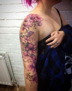 Tattoos wish list Arm Sleeve Tattoos For Women, Bicep Tattoo Women, Quarter Sleeve Tattoos, Best Sleeve Tattoos, Tattoo Sleeve Designs, Body Art Tattoos, Tattoos For Guys, Tattoos Pics, Watercolor Tattoo Sleeve