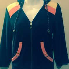 Navy Juicy Couture jacket with hoodie This is a navy hood jacket with yellow and orange trim with trim on pouch pockets . Juicy Couture Jackets & Coats