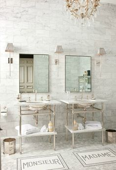 sink, mirror and marble