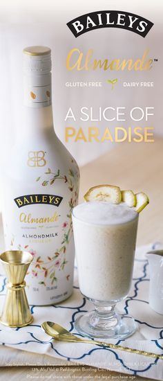 For a refreshingly light-tasting drink, look no further than the Beach Bound cocktail. Whether you're hanging out with friends, or relaxing at home, this recipe is a getaway in a glass. Just blend 1 3/4 oz. Baileys Almande, 1 oz. Smirnoff Vanilla, 3/4 oz. Honey, 3 inch slice of banana, and 1 cup of ice. Garnish with banana slices and enjoy! Purchase yours today!