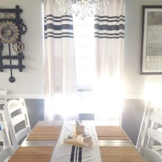 Add instand farmhouse cred when you dress your windows with these grain sack inspired striped curtain panels!