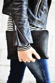 Black leather, stripes, and clutch