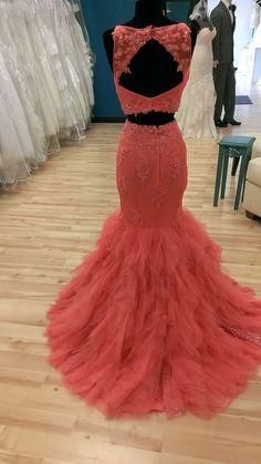 Keyhole Back, Two Piece Prom Dress