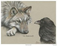 What a Gorgeous Drawing of Raven and Wolf!!! by Vic Bearcroft