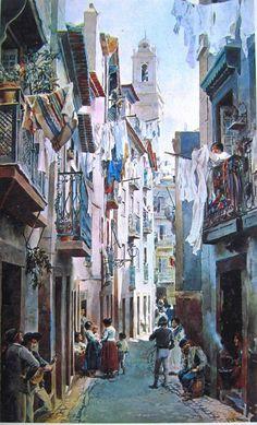 "Alfredo Roque Gameiro (Minde, mun. Alcanena, 4 de Abril de 1864 — Lisboa, 5 de Agosto de 1935). Pintor portugués especializado en acuarela. Rua de São Miguel in Alfama (de ""Lisboa Velha"")"