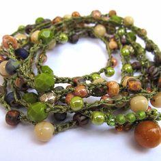 Crochet wrap bracelet / necklace, beaded, from CoffyCrochet on