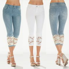 Buy 2018 Women Light Blue Denim Crochet Lace Skinny Legs Stretch Pencil Lace Jeans Short at Wish - Shopping Made FunProduct Description Skinny Pants Skinny and fashionable, fit for all seasons Soft to your skin, hugsProduct DescriptionSkinny PantsSkinny a Denim And Lace, Lace Jean Shorts, Lace Up Leggings, Lace Jeans, Blue Denim, Denim Shorts, Diy Jeans, Jeans Refashion, Harajuku Mode