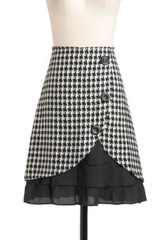 Stylish as Cancan Be Skirt - White, Houndstooth, Buttons, Ruffles, Mid-length, Work, Black, Winter