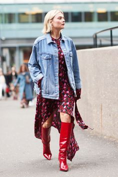 date night street style floral dress red boots