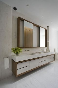 Amazing Modern Bathroom Vanities for Stylish Home: Hygienic White Modern Bathroom Vanities Designed With Frame Studded On Wall Displaying Sl...
