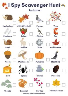 Autumn Themed I Spy Scavenger Hunt | PDF Downloadable Activity Sheet/Worksheet. Kids Play & Learning. 1000 Hours Outside. Forest School.