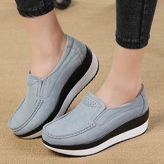 490797aebfa3 Women Vulcanize Shoes Platform Creepers Suede Leather Tenis Feminino Ladies  Casual Vulcanize Shoes Women Footwear