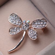 Simple Fully-jewelled Rhinestone Dragonfly Brooch For Women New Easter Day Gift