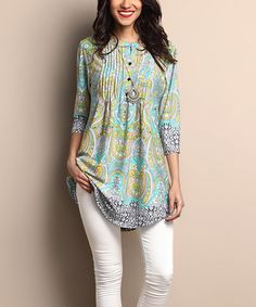 Look what I found on #zulily! Turquoise Paisley Notch Neck Pin Tuck Tunic #zulilyfinds