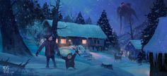 Winter Town by Yog Joshi | Illustration | 2D | CGSociety