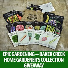 Baker Creek + Epic Gardening Giveaway!  Baker Creek Heirloom Seed Co. is generously giving away a Home Gardener's Collection, containing 20 full-size packets of heirloom seeds and a garden planner!  Enter here: https://gleam.io/FMr1D/epic-gardening-baker-creek-heirloom-seeds-giveaway