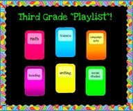 you could continue your ipod theme into your subject bulletin boards