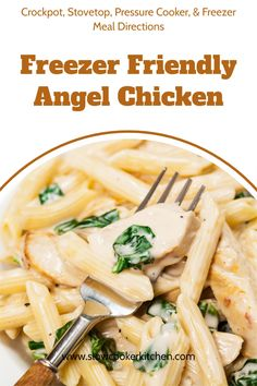 Freezer friendly, quick and simple angel chicken! With crockpot, skillet, pressure cooker, & freezer friendly directions! I hope this recipe helps you with a quick & easy dinner idea. Enjoy! | Slow Cooker Kitchen Slow Cooker Kitchen, Slow Cooker Pasta, Slow Cooker Recipes, Crockpot Recipes, Chicken Recipes, Angel Chicken, Chicken Penne Pasta, Healthy Freezer Meals, Quick Easy Dinner