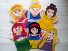 Princess felt hand Puppets 6 set by puppetmaker, Puppets Finger Puppets, Glove Puppets, Felt Puppets, Hand Puppets, Puppet Making, Felt Quiet Books, Arts And Crafts Projects, Crafts For Kids, Felt Crafts