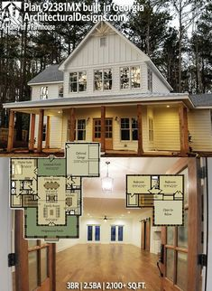 Architectural Designs Farmhouse Plan 92381MX client-built in Georgia! 3BR | 2.5BA | 2.100+SQ.FT. Ready when you are. Where do YOU want to build? #92381MX #adhouseplans #architecturaldesigns #houseplan #architecture #newhome #newconstruction #newhouse #homedesign #dreamhome #dreamhouse #homeplan #architecture #architect #housegoals #Modernfarmhouse #Farmhousestyle #farmhouse