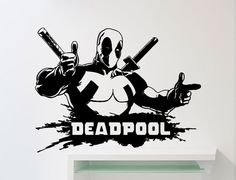 Deadpool Wall Decal Superhero DC Marvel Comics by AwesomezzDesigns