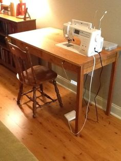 diy sewing machine table. LOVE this idea...uh oh...now I'm thinking where's the saw...hmmm I might just be doing this & pinning mine once I'm done!!!