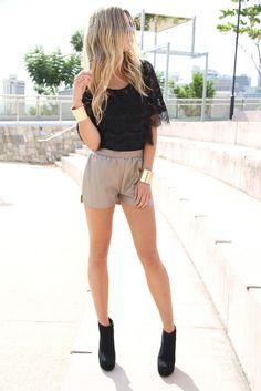lace. high waisted shorts. gold cuffs