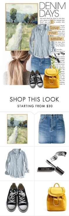 """smile"" by theworldisatourfeet ❤ liked on Polyvore featuring Yves Saint Laurent, CP Shades, Bobbi Brown Cosmetics, Converse, Diane Von Furstenberg and denimskirts"