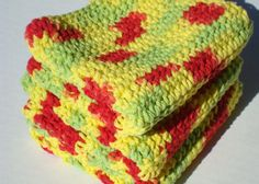 Crochet Dish Cloths, Red, Yellow, Green Dishcloths, Dish Cloths, Crochet, Crocheted Variegated Peace Dishcloths by Hoooked, $12.00