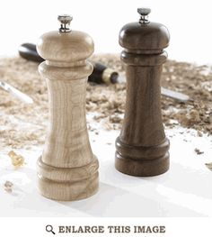 Salt and Pepper Mills. Love that the pepper mill is darker. Wish these were for sale and not just instructions.