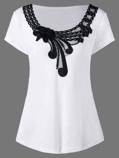 Floral Applique Plus Size T-Shirt Stylish Plus Size Clothing, Plus Size Outfits, Plus Size Fashion, Latest Fashion For Women, Womens Fashion, Cheap Fashion, Fall Fashion, Couture Details, Fashion Seasons