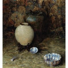 """""""Still Life with Ceramic Jar and Silver Spoon,"""" Dines Carlsen, oil on canvas, 29 1/8 x 27 1/8"""", private collection."""