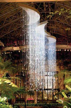 "Bruce Munro ""Light"" installation at Longwood Gardens Chandeliers, Chandelier Lighting, Ceiling Lighting, Interior Lighting, Lighting Design, Lighting Ideas, Light Art, Lamp Light, Beautiful Lights"