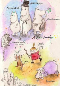 The Ancestor, Moomintroll, Moominmama, Moominpapa, Little My, Hemulen, Hattifatteners, and Sniff - from the Moomintroll books by Tove Jannson Moomin Books, Children's Book Characters, Moomin Valley, Tove Jansson, Illustration Art, Book Illustrations, Cartoon Shows, Little My, Totoro