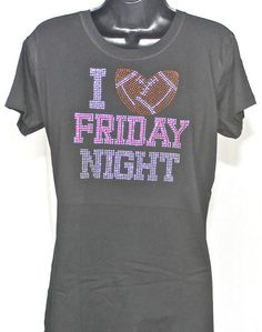 ON SALE - Football Bling - Friday Night Lights Rhinestone T-shirt (Size Fitted XL) by TheTeeShirtMakers, $14.99