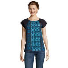 T-shirt Pixel tye - motif noir, bleu et turquoise